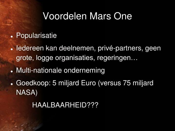 Voordelen Mars One