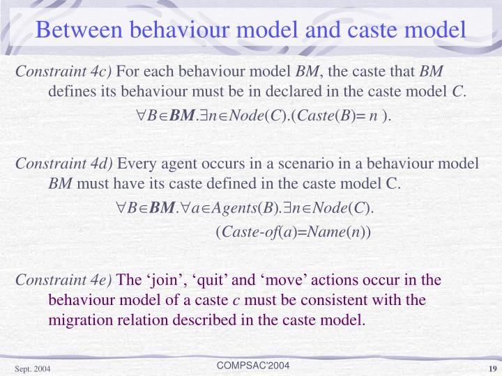 Between behaviour model and caste model