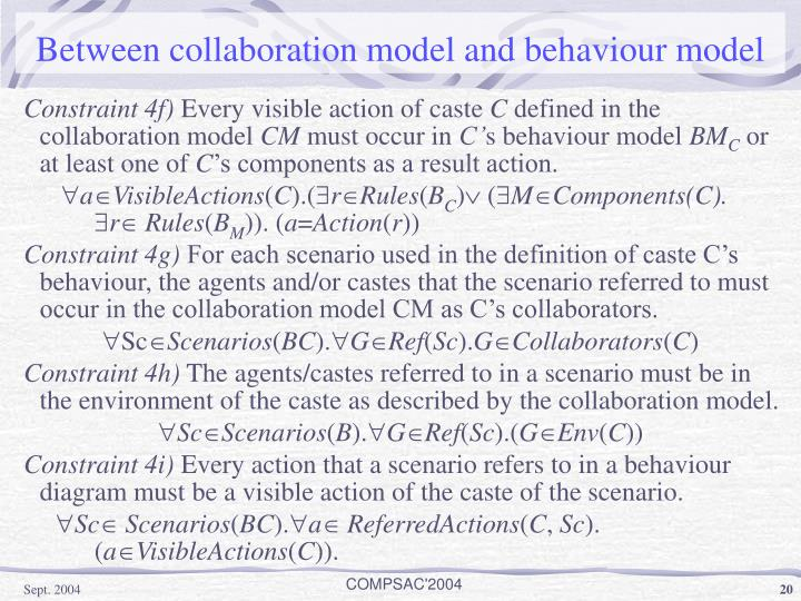 Between collaboration model and behaviour model
