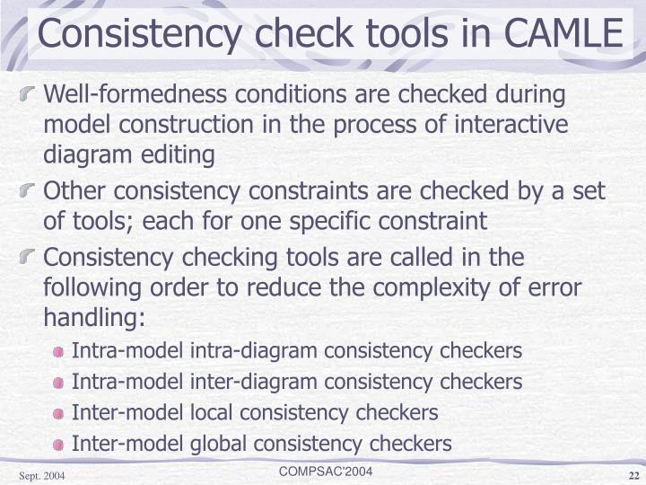 Consistency check tools in CAMLE