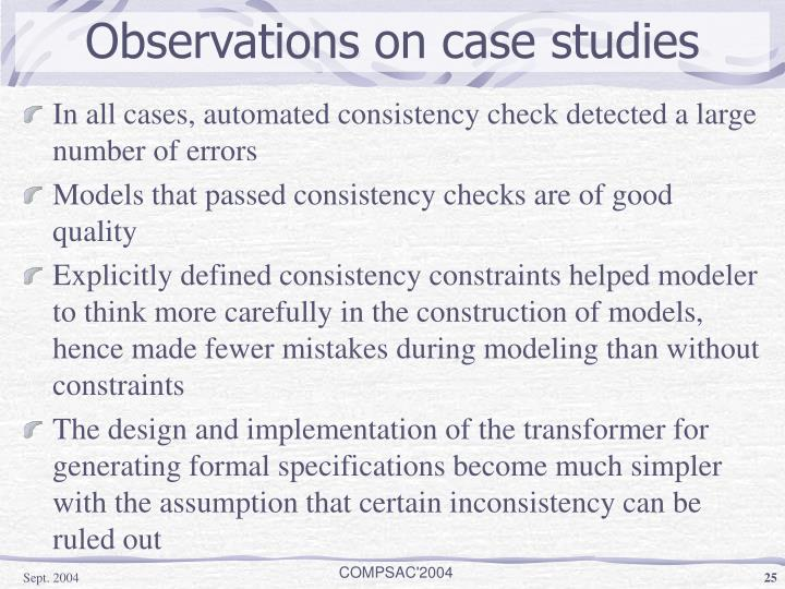 Observations on case studies