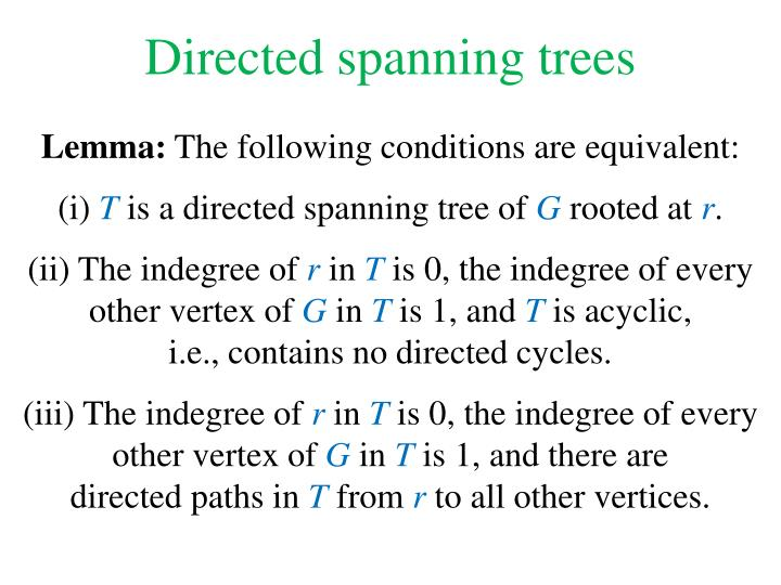 Directed spanning trees