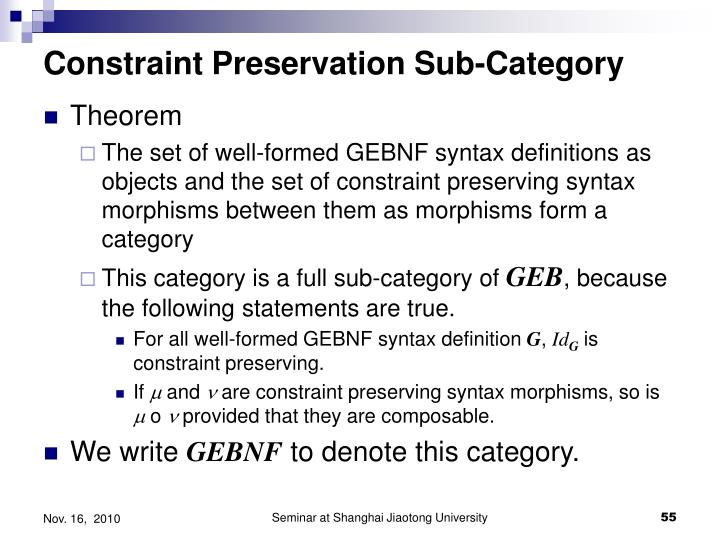Constraint Preservation Sub-Category