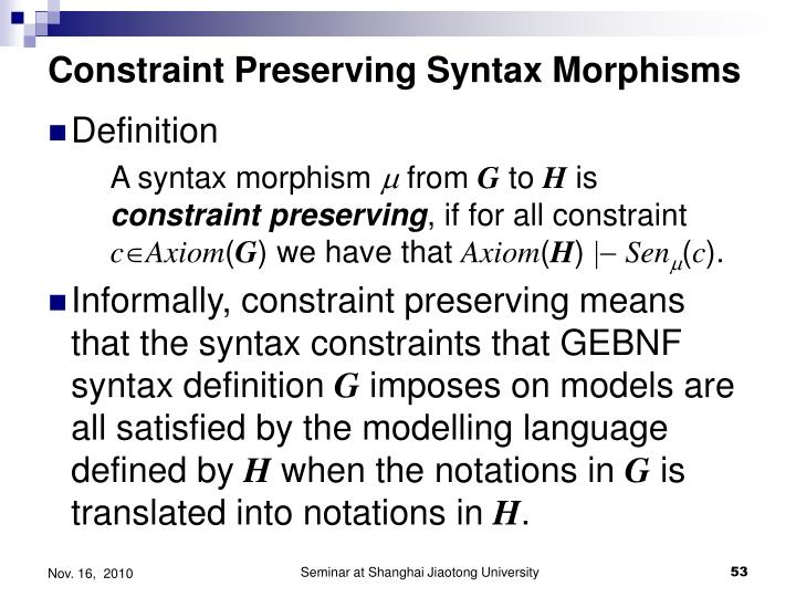Constraint Preserving Syntax Morphisms