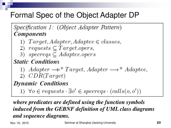 Formal Spec of the Object Adapter DP