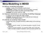 meta modelling in mdsd
