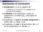 satisfaction of constraints