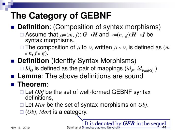 The Category of GEBNF