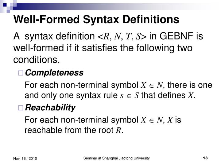 Well-Formed Syntax Definitions