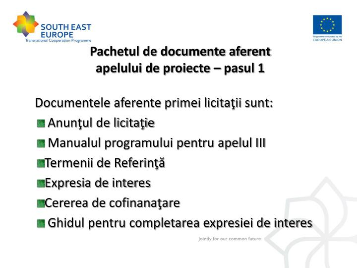 Pachetul de documente aferent