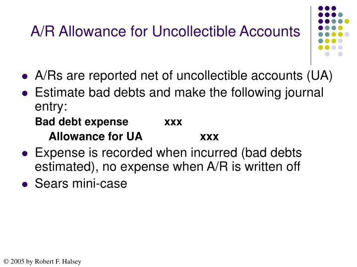 A/R Allowance for Uncollectible Accounts