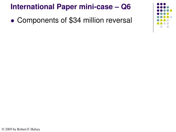 International Paper mini-case – Q6