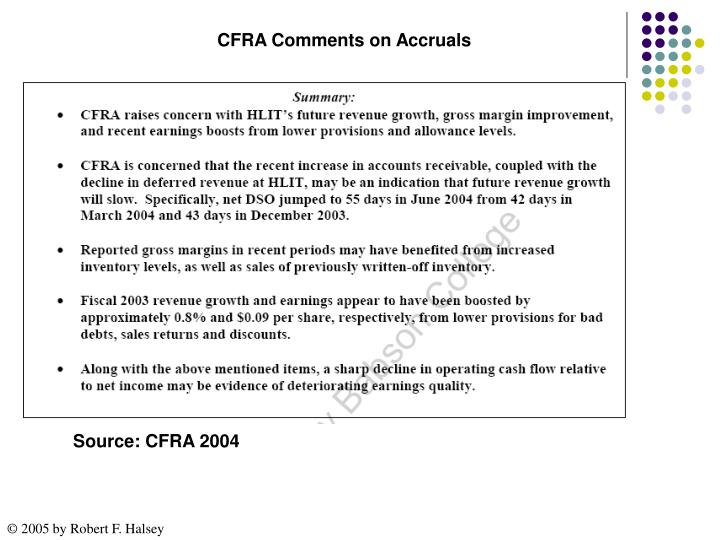 CFRA Comments on Accruals