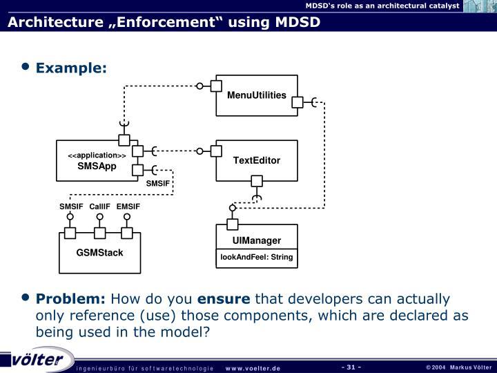 "Architecture ""Enforcement"" using MDSD"