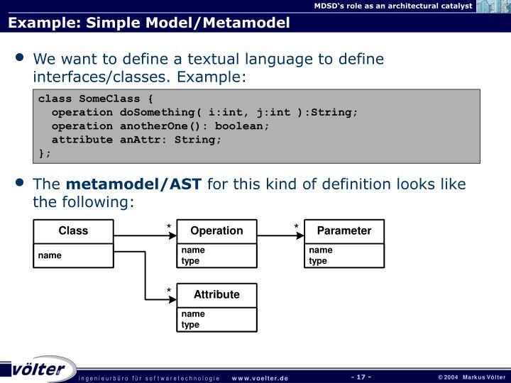 Example: Simple Model/Metamodel