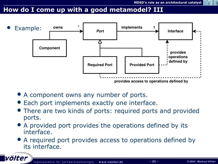 How do I come up with a good metamodel? III