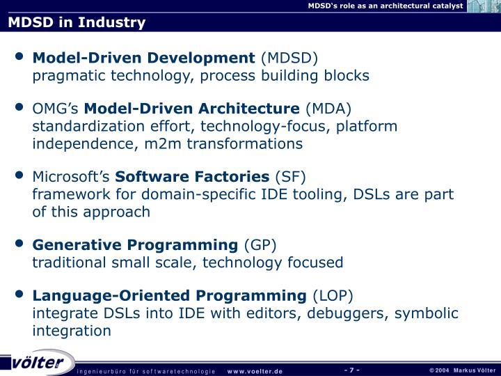 MDSD in Industry
