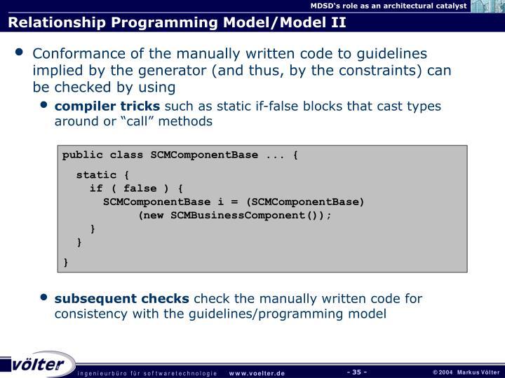 Relationship Programming Model/Model II