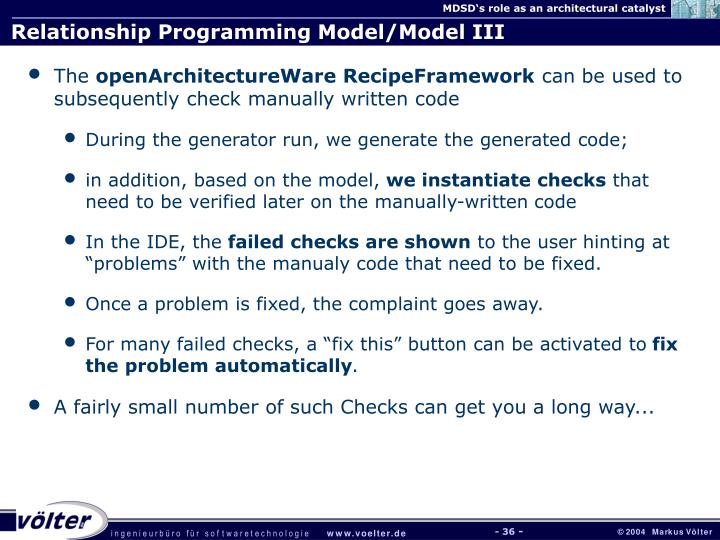 Relationship Programming Model/Model III