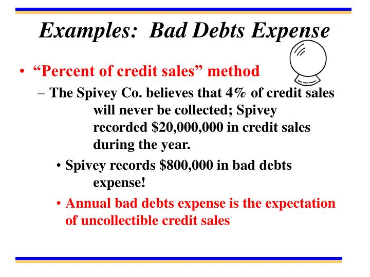 Examples:  Bad Debts Expense