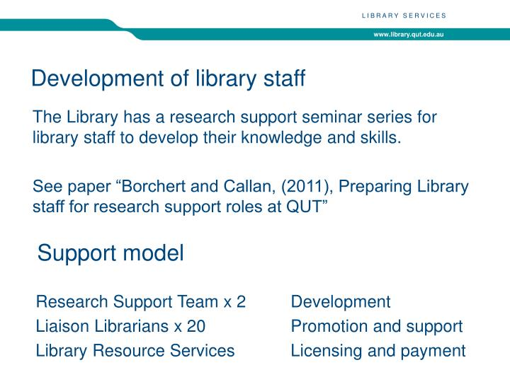 Development of library staff