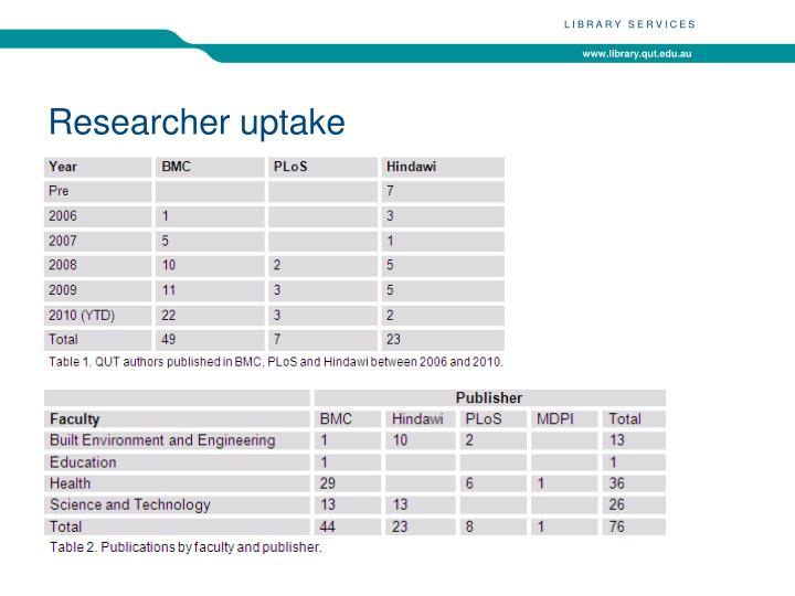 Researcher uptake