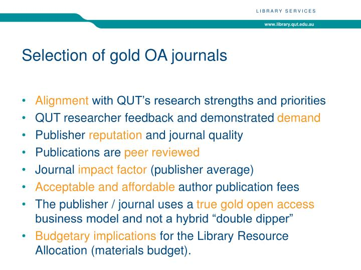 Selection of gold OA journals