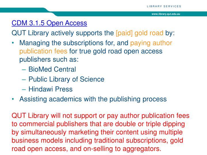 CDM 3.1.5 Open Access