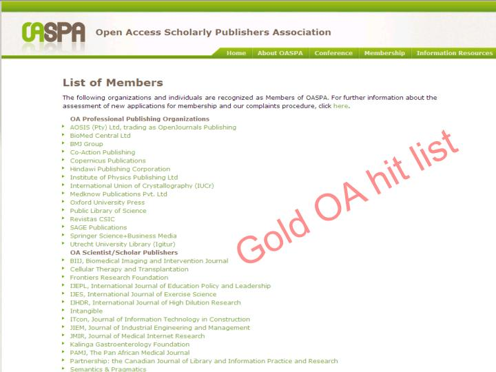 Gold OA hit list