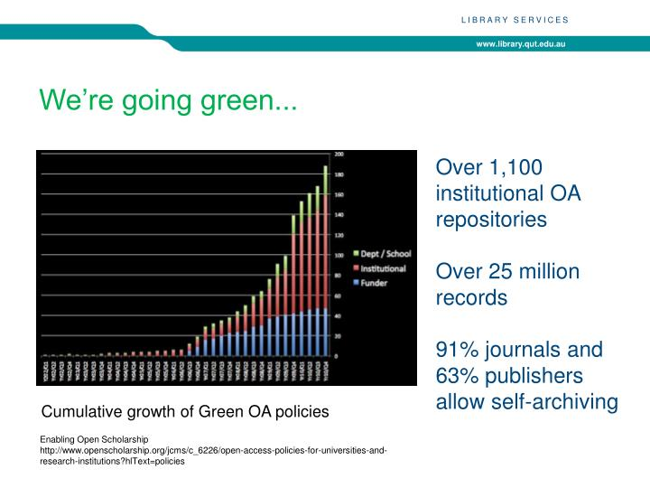 We're going green...