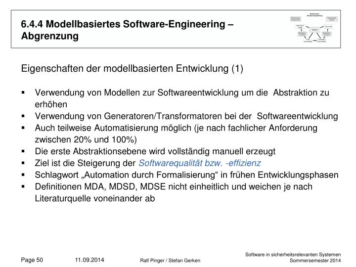 6.4.4 Modellbasiertes Software-Engineering – Abgrenzung