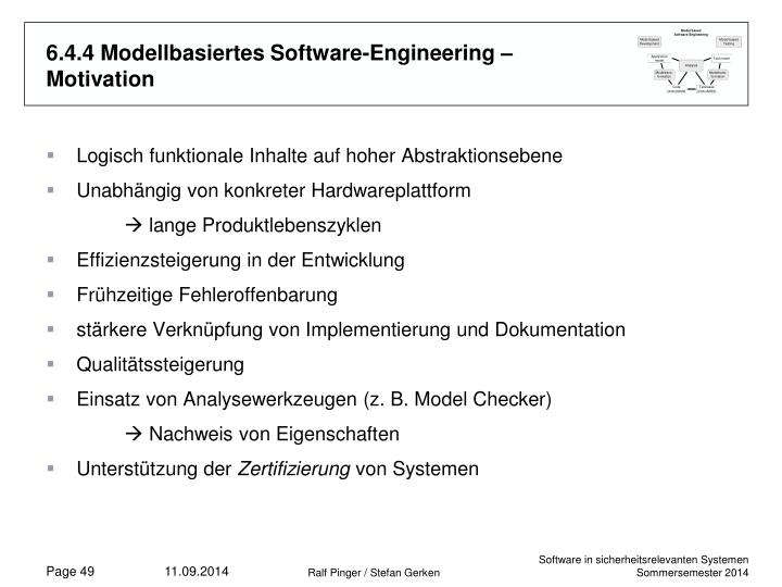 6.4.4 Modellbasiertes Software-Engineering – Motivation