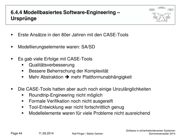 6.4.4 Modellbasiertes Software-Engineering – Ursprünge