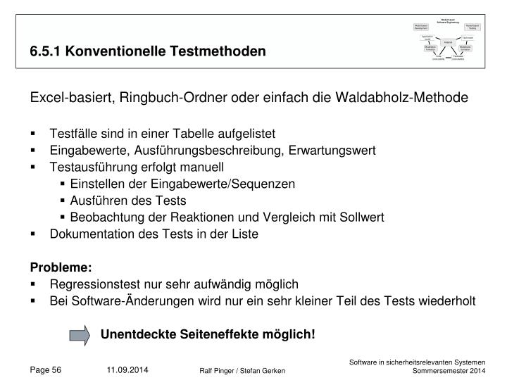 6.5.1 Konventionelle Testmethoden