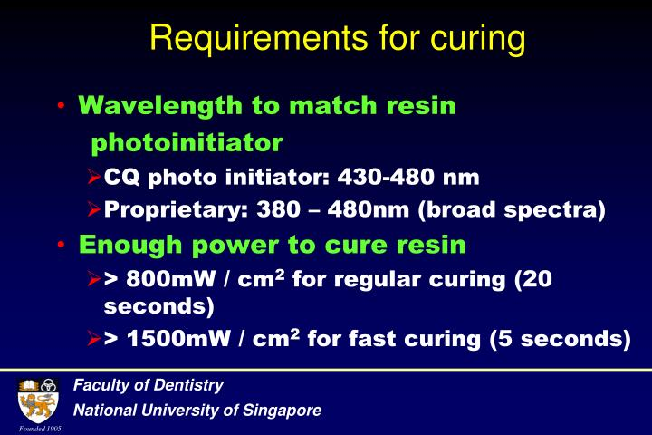 Requirements for curing