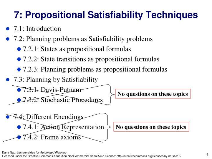 7: Propositional Satisfiability Techniques