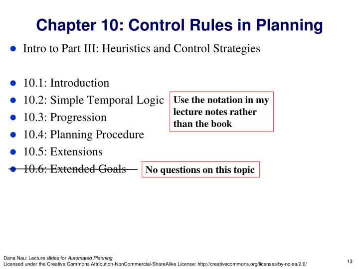 Chapter 10: Control Rules in Planning