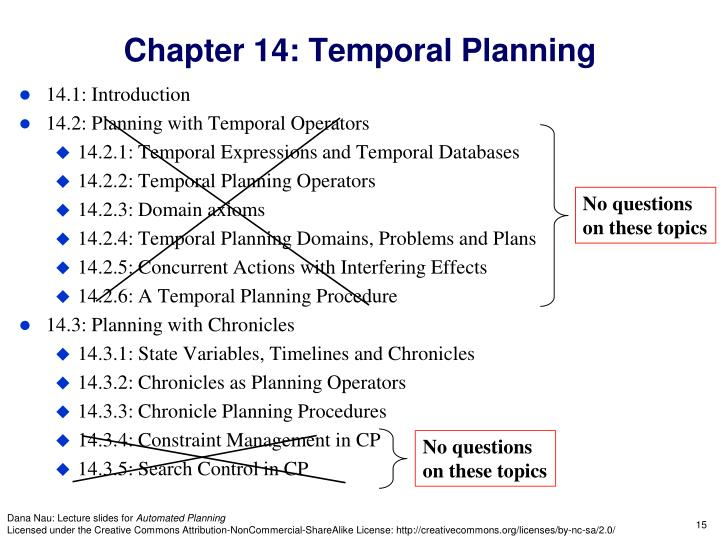 Chapter 14: Temporal Planning