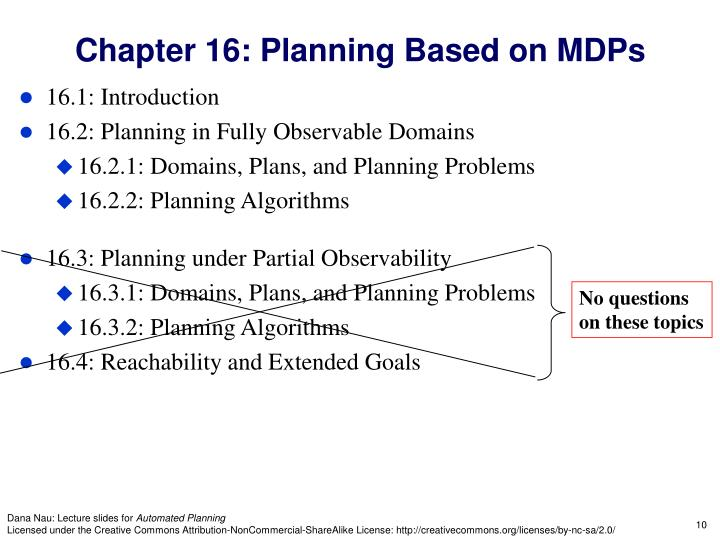 Chapter 16: Planning Based on MDPs