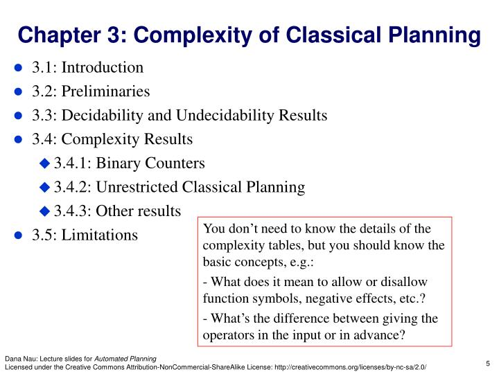 Chapter 3: Complexity of Classical Planning
