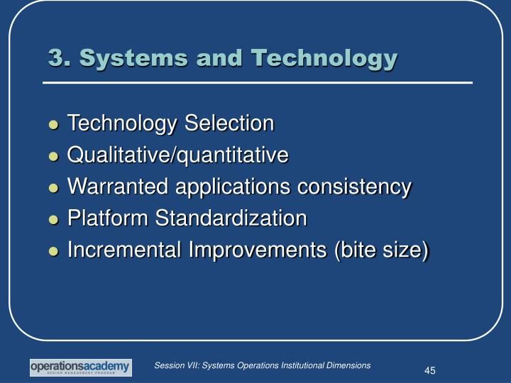3. Systems and Technology