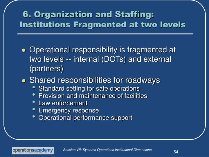 6. Organization and Staffing: