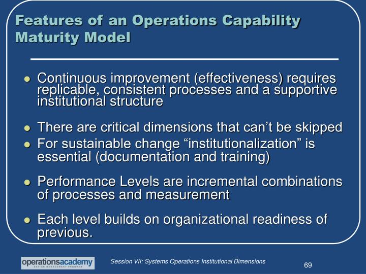 Features of an Operations Capability Maturity Model