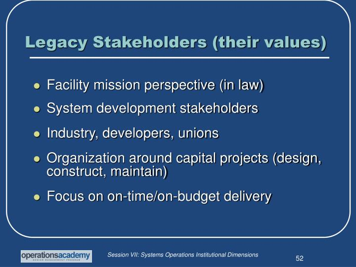 Legacy Stakeholders (their values)
