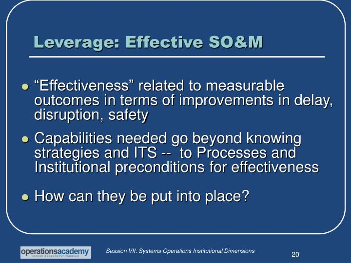 Leverage: Effective SO&M