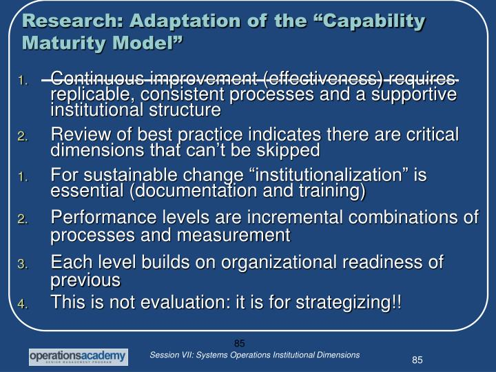 "Research: Adaptation of the ""Capability Maturity Model"""
