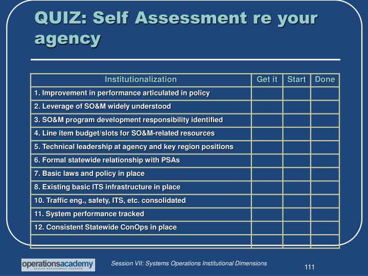 QUIZ: Self Assessment re your agency