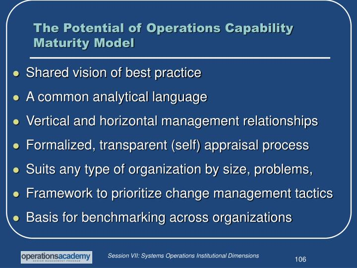 The Potential of Operations Capability Maturity Model