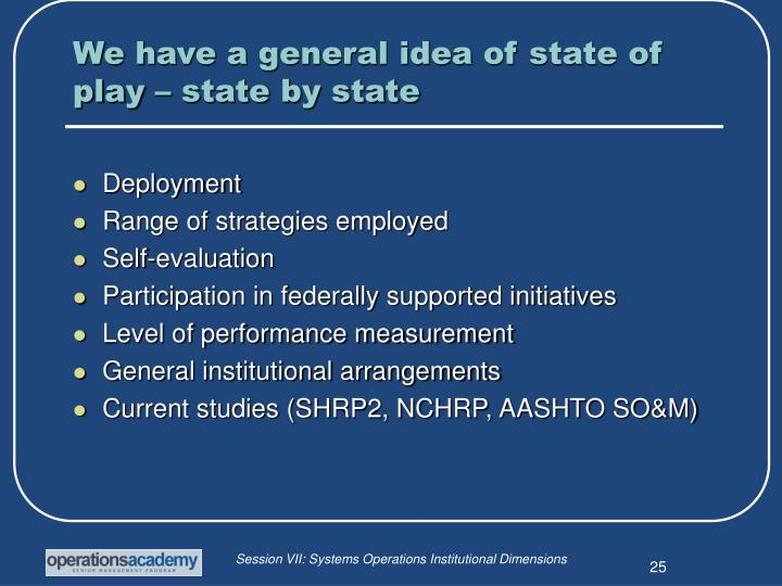 We have a general idea of state of play – state by state