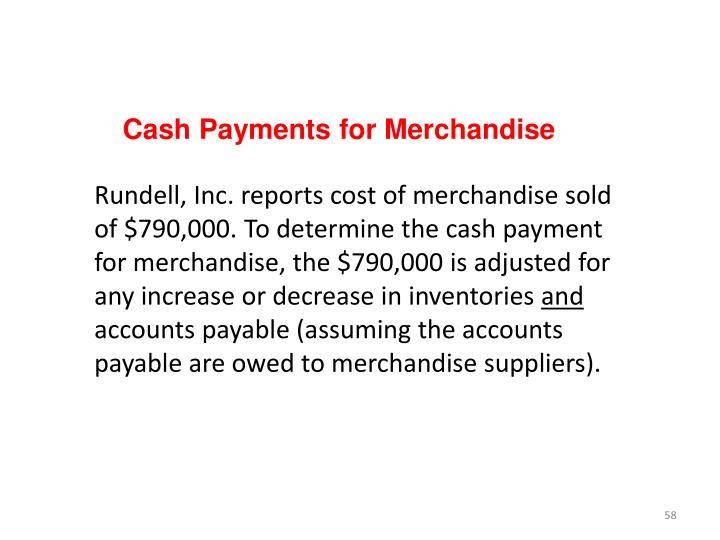 Cash Payments for Merchandise